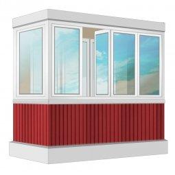Остекление балкона ПВХ Veka с отделкой вагонкой с утеплением 2.4 м Г-образное