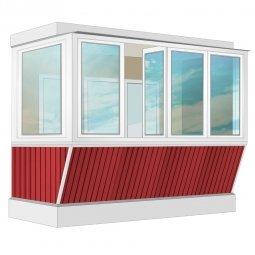 Остекление балкона ПВХ Exprof с выносом и отделкой ПВХ-панелями с утеплением 3.2 м Г-образное