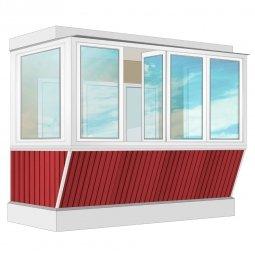 Остекление балкона ПВХ Veka с выносом и отделкой вагонкой с утеплением 3.2 м П-образное