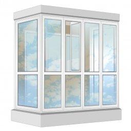Остекление балкона ПВХ Exprof в пол с отделкой ПВХ-панелями без утепления 2.4 м П-образное