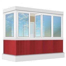 Остекление балкона ПВХ Exprof с отделкой ПВХ-панелями с утеплением 3.2 м Г-образное