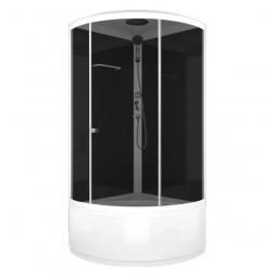 Душевая кабина Domani Spa Simple high 900х900х2180 прозрачное стекло, черная панель Б/Э