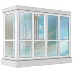 Остекление балкона ПВХ Rehau в пол с отделкой вагонкой с утеплением 3.2 м П-образное